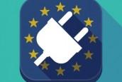 Long shadow EU square button with a plug