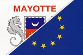European Union or EU and Mayotte national flag from textile. Symbol of the Council of Europe association.
